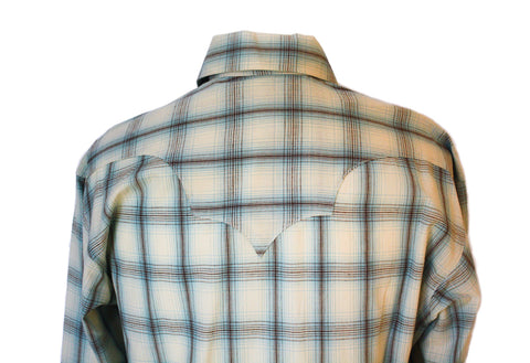 Rockmount Blue and White Plaid/Checked Western Cowboy Shirt Back Close Up
