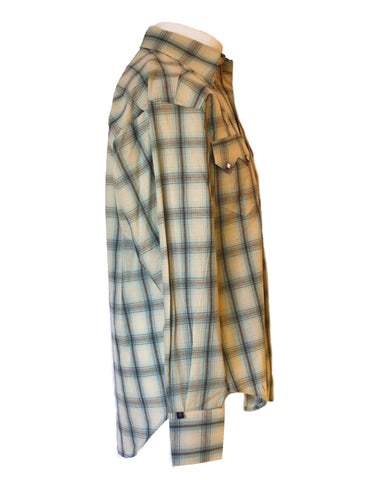 Rockmount Blue and White Plaid/Checked Western Cowboy Shirt Side