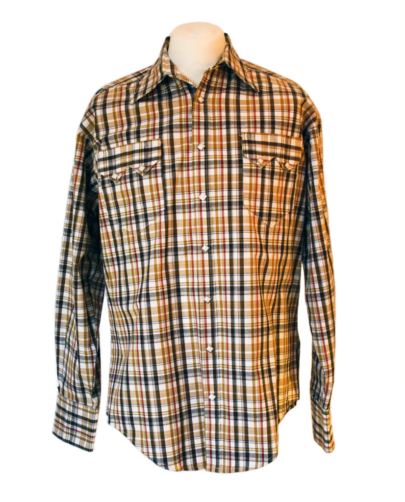 Rockmount Brown and White Plaid/Checked Western Cowboy Shirt