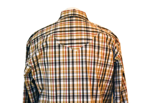 Rockmount Brown and White Plaid/Checked Western Cowboy Shirt Back Close Up