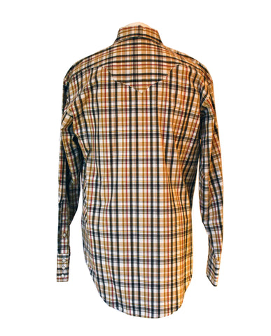 Rockmount Brown and White Plaid/Checked Western Cowboy Shirt Back