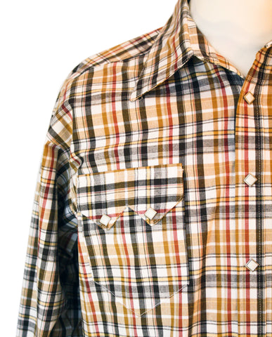 Rockmount Brown and White Plaid/Checked Western Cowboy Shirt Front Close Up Side