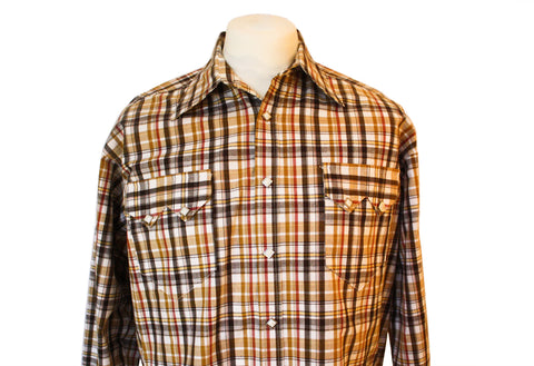 Rockmount Brown and White Plaid/Checked Western Cowboy Shirt Front Close Up