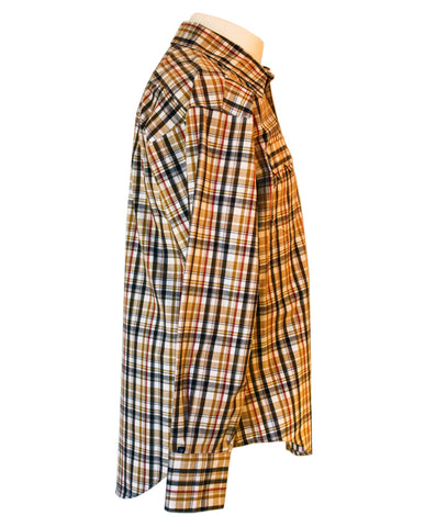 Rockmount Brown and White Plaid/Checked Western Cowboy Shirt Side