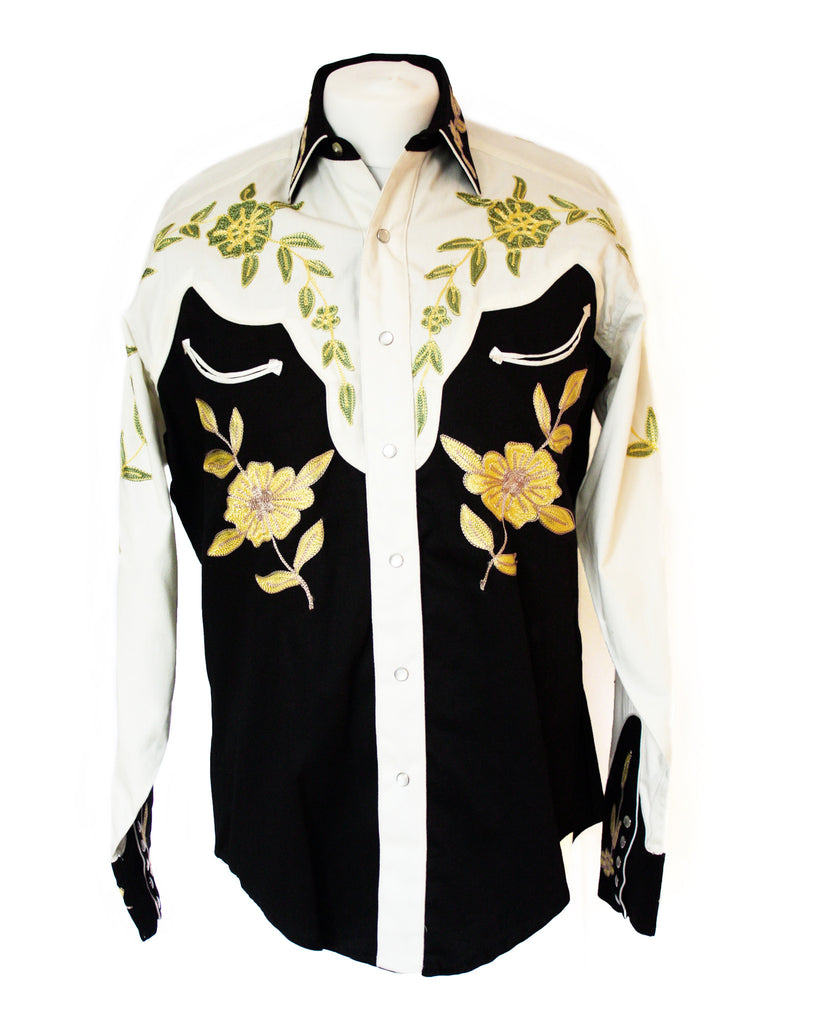 Rockmount Floral 2-Tone Embroidered Western Cowboy Shirt