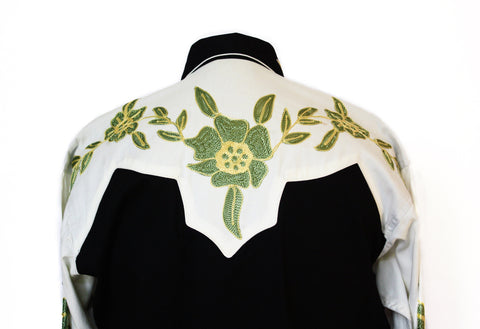 Rockmount Floral 2-Tone Embroidered Western Cowboy Shirt Back Close Up