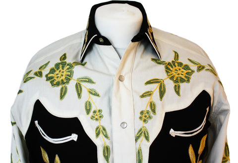 Rockmount Floral 2-Tone Embroidered Western Cowboy Shirt Close Up