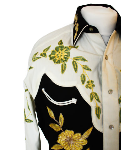 Rockmount Floral 2-Tone Embroidered Western Cowboy Shirt Close Up Front Side