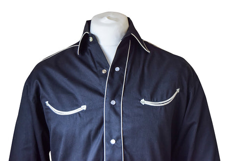 Rockmount Plain Black with White Piping Western Cowboy Shirt