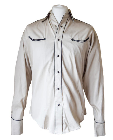Rockmount Plain Cream with Black Piping Western Cowboy Shirt