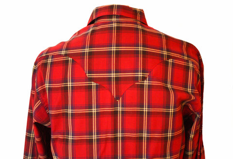 Rockmount Red Plaid/Checked Western Cowboy Shirt Back Close Up