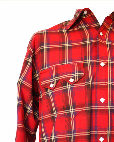 Rockmount Red Plaid/Checked Western Cowboy Shirt Front Side Close Up