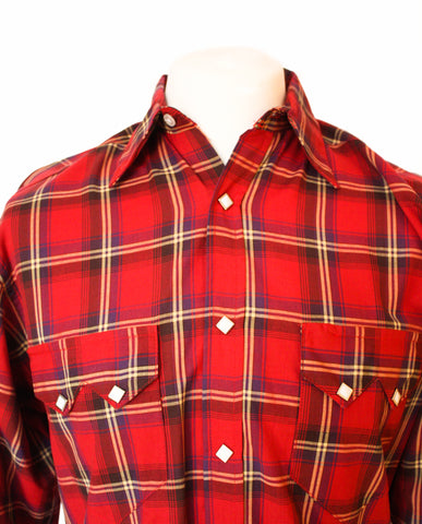 Rockmount Red Plaid/Checked Western Cowboy Shirt Close Up