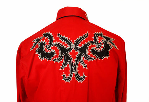 Rockmount Red Tattoo Embroidered Western Cowboy Shirt Back Close Up