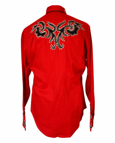 Rockmount Red Tattoo Embroidered Western Cowboy Shirt Back