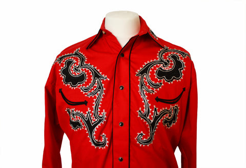 Rockmount Red Tattoo Embroidered Western Cowboy Shirt Front Close Up