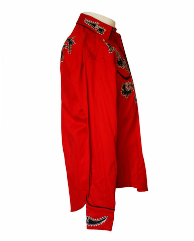 Rockmount Red Tattoo Embroidered Western Cowboy Shirt Side