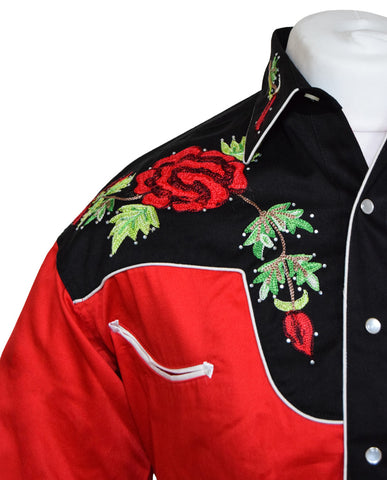 Rockmount Red and Black Red Rose Embroidered Western Cowboy Shirt
