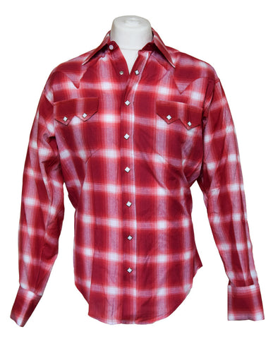Rockmount Red and White Plaid/Checked Western Cowboy Shirt