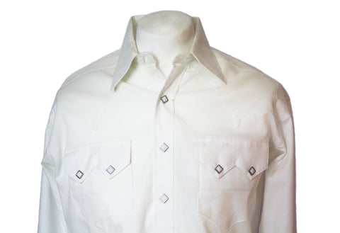 Rockmount White Textured Pima Sawtooth Western Cowboy Shirt Front Close Up