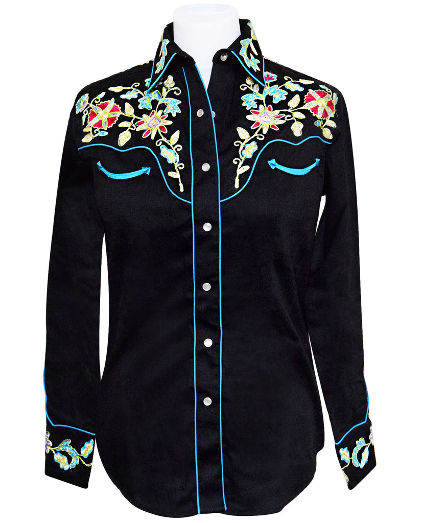 Rockmount Woman's Black Floral Embroidered Western Shirt