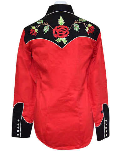 Rockmount Woman's Red and Black with Rose Embroidered Western Shirt