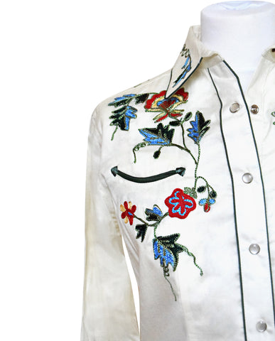 Rockmount Woman's White with Floral Embroidered Western Shirt