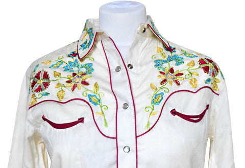 Rockmount Woman's White with Red Floral Embroidered Western Shirt