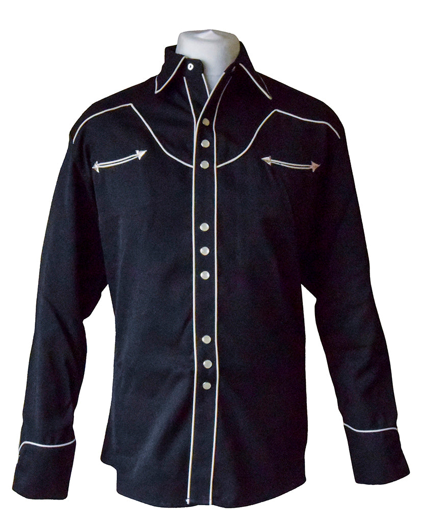 Scully Plain Black Western Cowboy Shirt