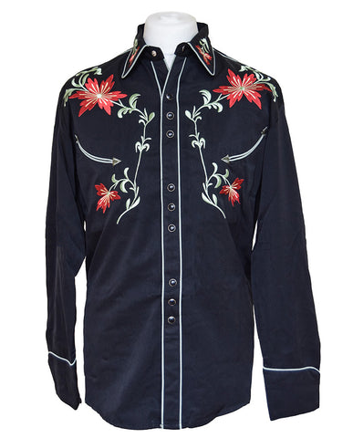 Scully Black with Red Floral Embroidered Western Cowboy Shirt