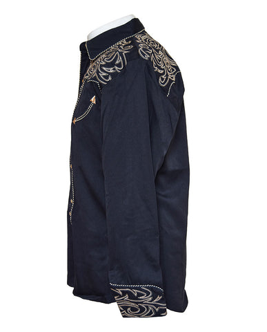 Scully Black with Gold Embroidered Western Cowboy Shirt