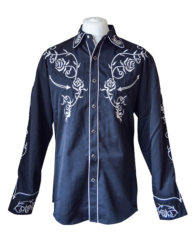 Scully Black with White Floral Embroidered Western Cowboy Shirt