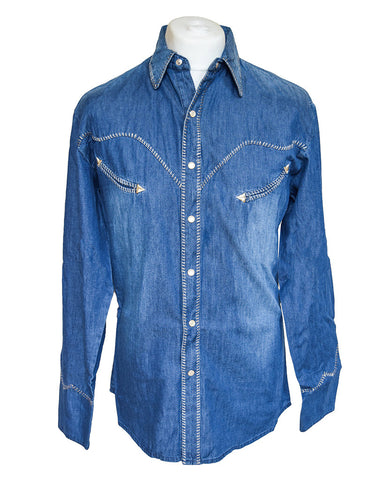 Scully Blue Cotton Denim Western Cowboy Shirt