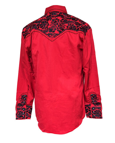 Scully Red with Black Embroidered Western Cowboy Shirt