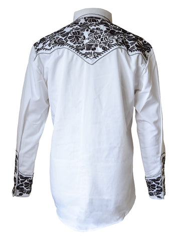 Scully White with Charcoal Floral Embroidered Western Cowboy Shirt