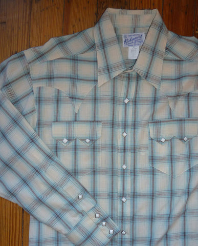 Blue and White Plaid Western Shirt