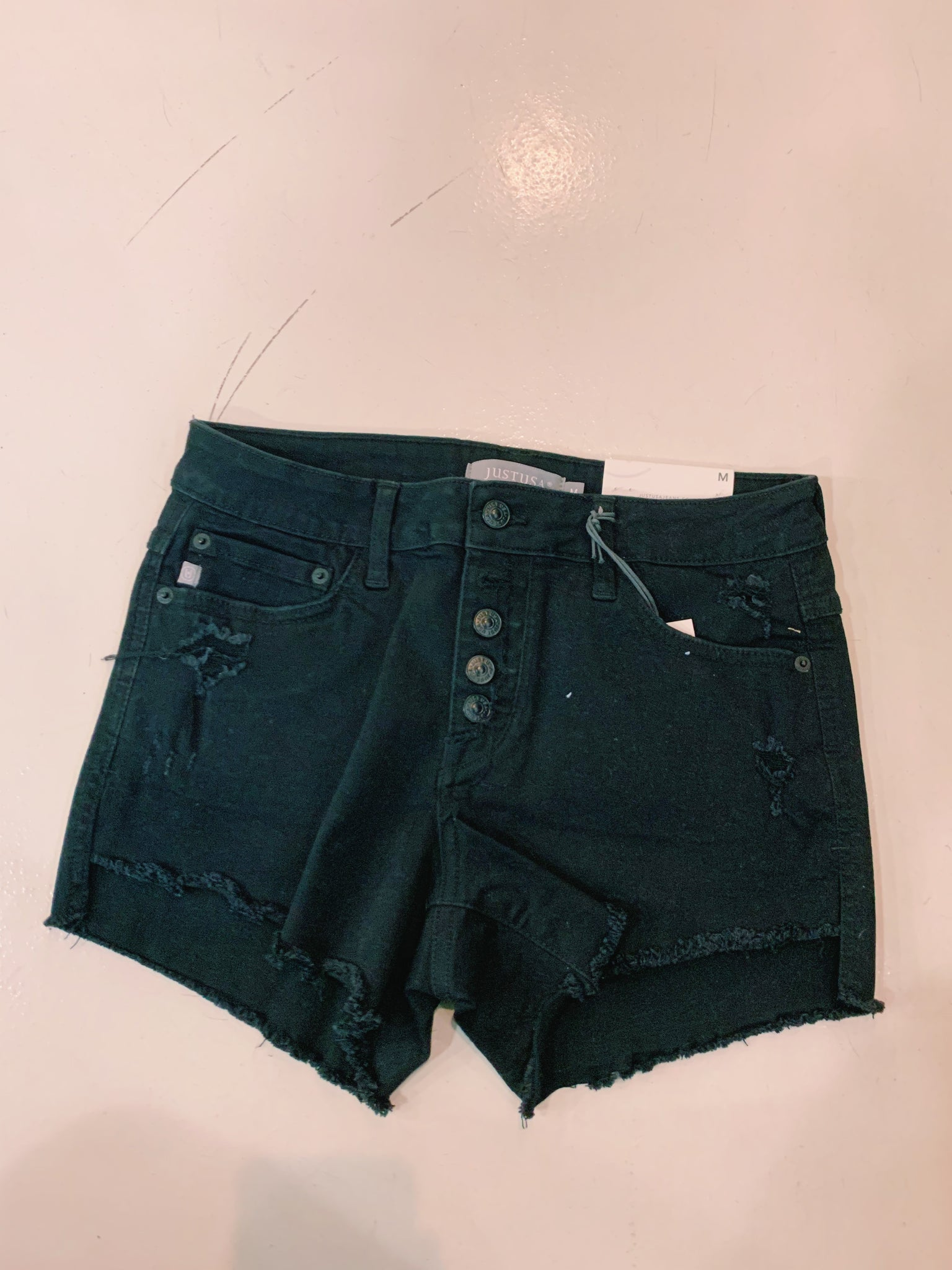 Just USA Black High Waisted Jean Short