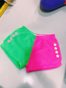 Made with Love and Kisses Pink & Green Fuzzy Short