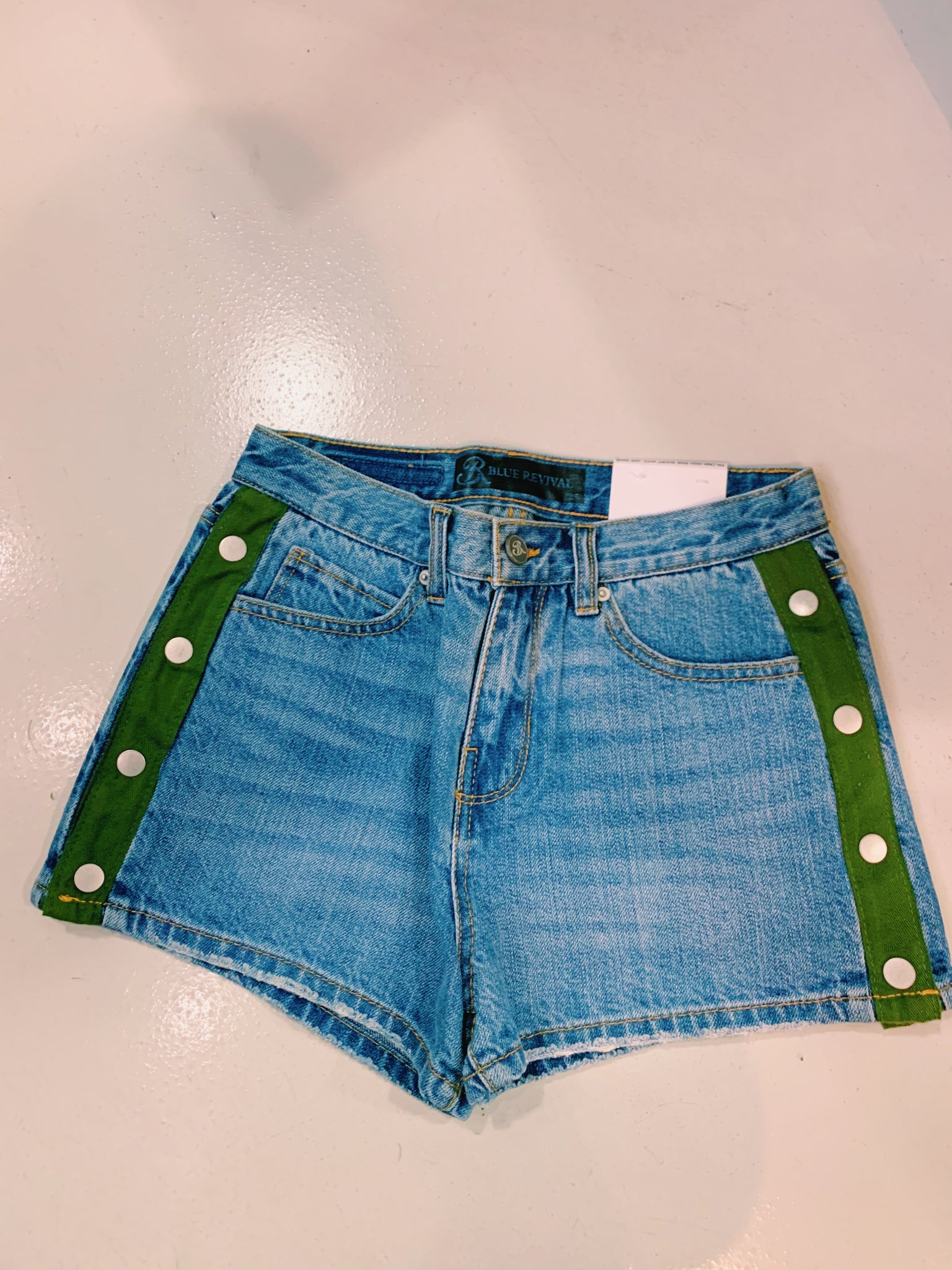 Blue Revival Green Snap Jean Short