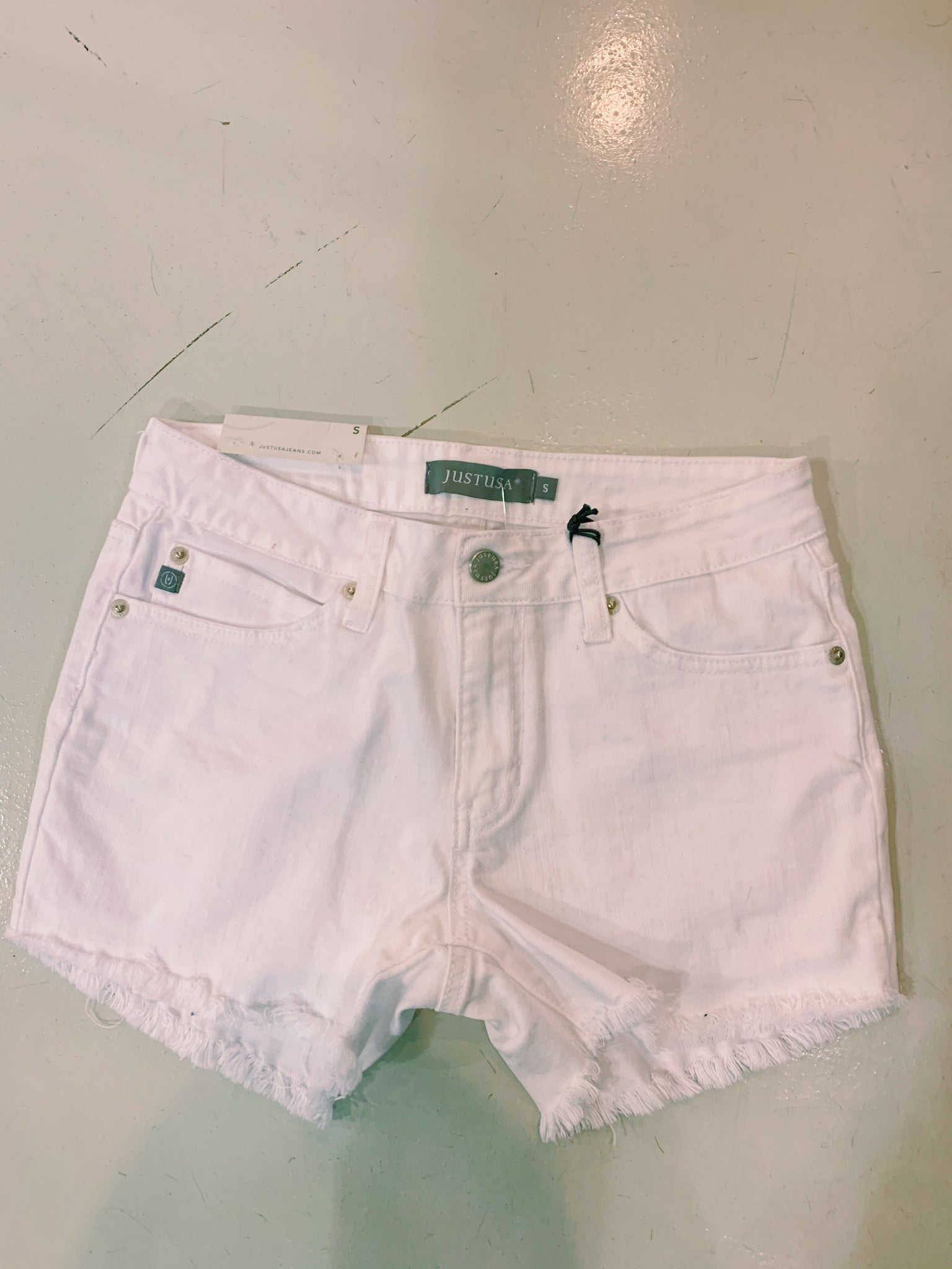 Just USA White High Waisted Jean Short
