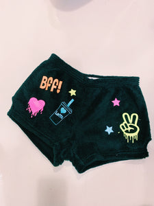 Made with Love and Kisses Neon Black Fuzzy Short