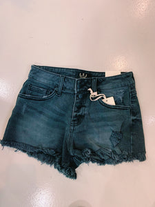 LTJ Button Black Jean Short
