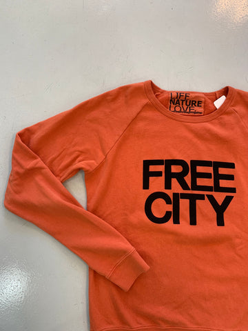 "Orange ""Free City"" Crewneck"