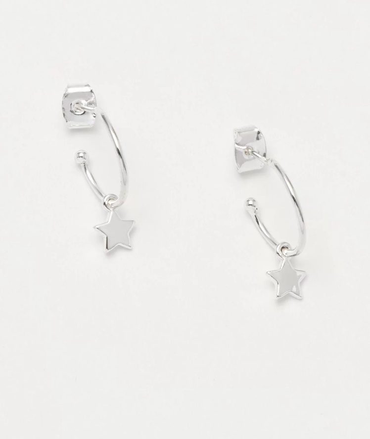 Estella Bartlett Silver Star Drop Hoop Earring