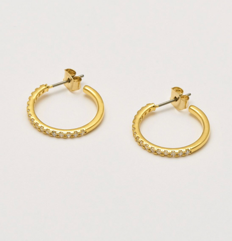 Estella Bartlett Gold Plated Pave Set Large Hoop Earrings