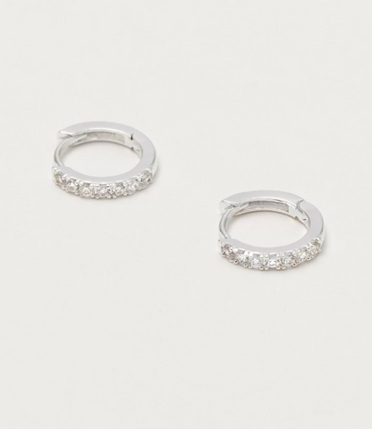 Estella Bartlett Silver Plated Hoop Earrings with White CZ
