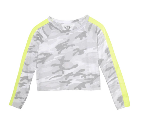 Long Sleeve Camo Print Raw Edge Crew with Pannel - Green