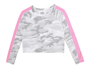 Long Sleeve Camo Print Raw Edge Crew with Pannel - Pink