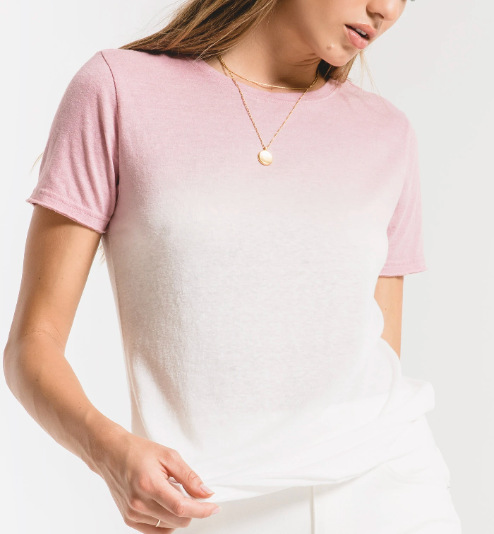 Zephyr Pink/White Ombre Dip Dye Tee