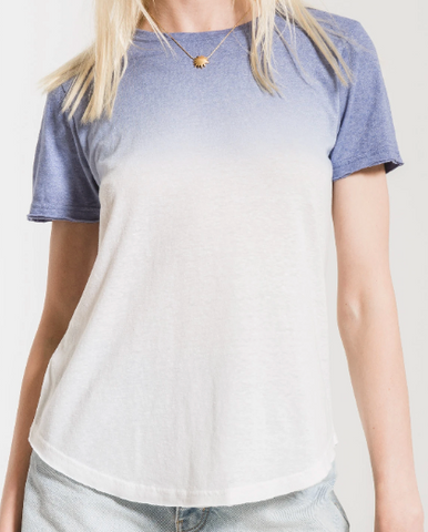 Bleached Denim/White Ombre Dip Dye Tee